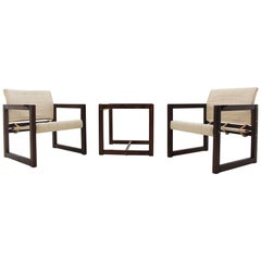 Scandinavian Set of Armchairs and Table Karin Mobring Never Used