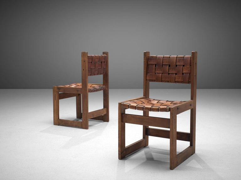 Patinated Scandinavian Set of Dining Chairs with Leather Woven Seats For Sale