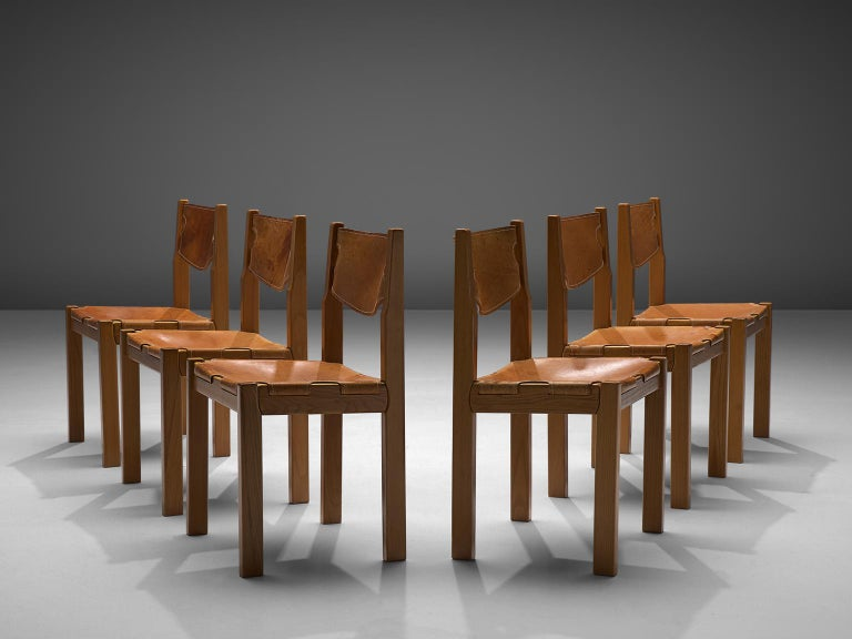 Set of 6 dining chairs, cognac leather and oak, Scandinavia, 1970s