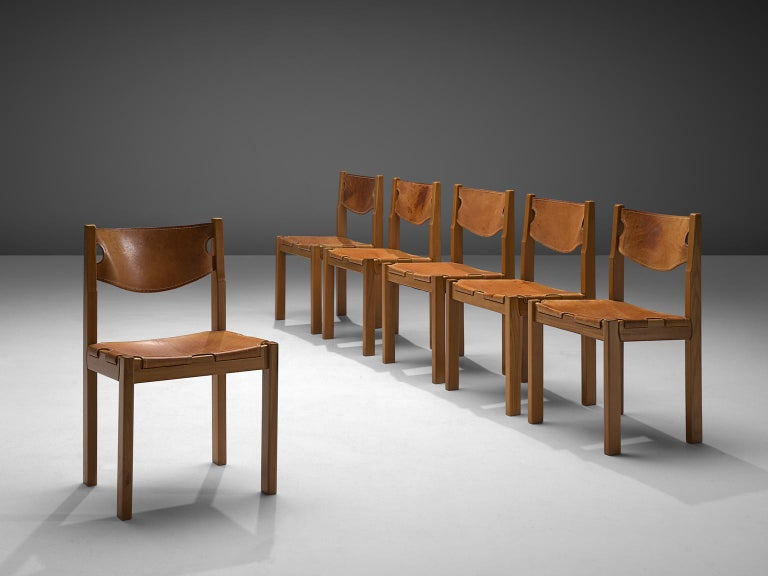 Scandinavian Set of Six Dining Chairs with Cognac Leather In Good Condition For Sale In Waalwijk, NL