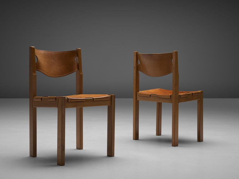 Late 20th Century Scandinavian Set of Six Dining Chairs with Cognac Leather For Sale