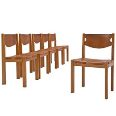 Scandinavian Set of Six Dining Chairs with Cognac Leather