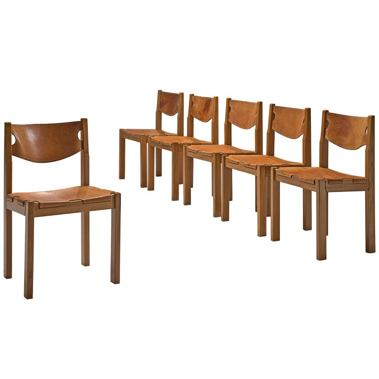 Scandinavian Set of Six Dining Chairs with Cognac Leather For Sale