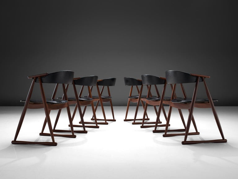 Danish Scandinavian Set of Six Dining Chairs in Leatherette and Teak For Sale