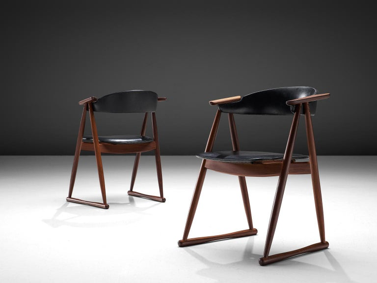 Mid-20th Century Scandinavian Set of Six Dining Chairs in Leatherette and Teak For Sale