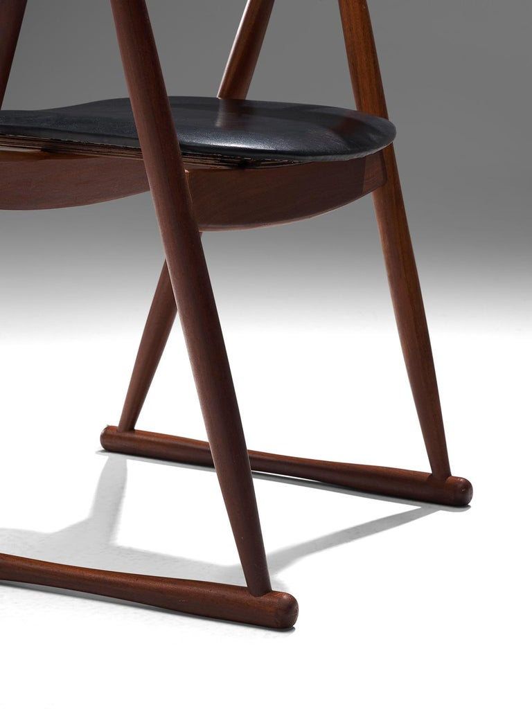 Scandinavian Set of Six Dining Chairs in Leatherette and Teak For Sale 1