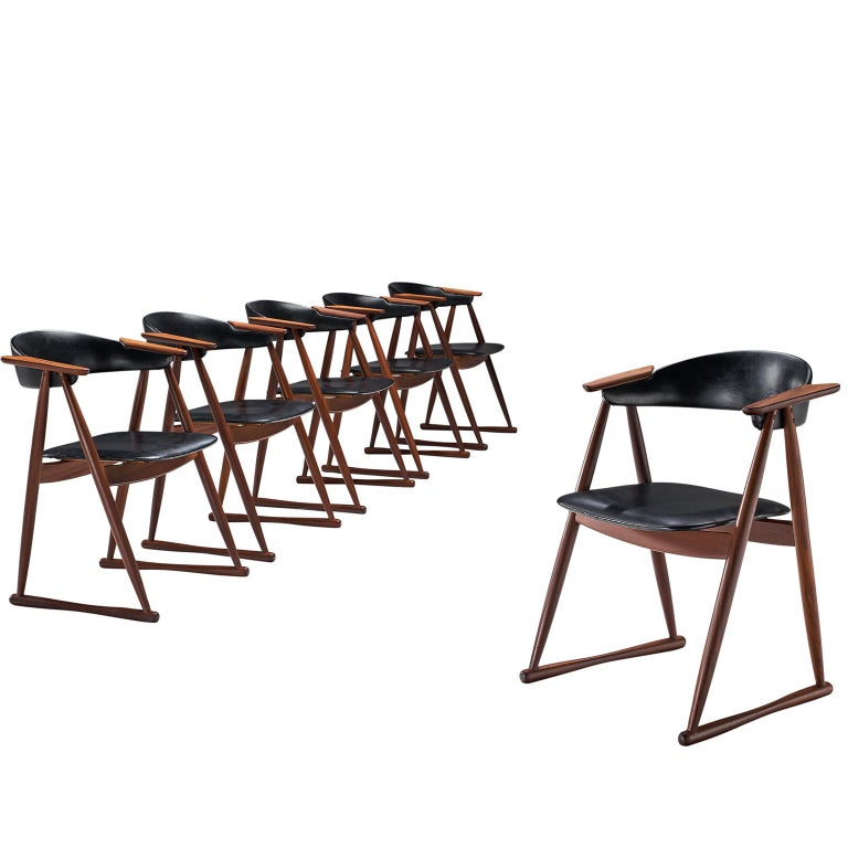 Scandinavian Set of Six Dining Chairs in Leatherette and Teak For Sale