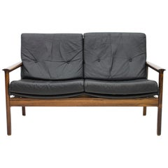 Scandinavian Settee in Black Leather Sofa, 1960s