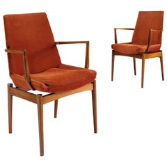 Scandinavian Side Chairs in Rosewood and Curduroy