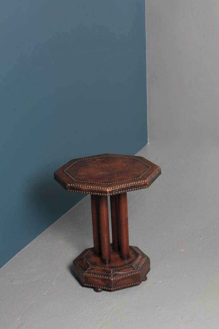 Scandinavian Side Table in Patinated Leather by Otto Schulz, 1940s For Sale 5