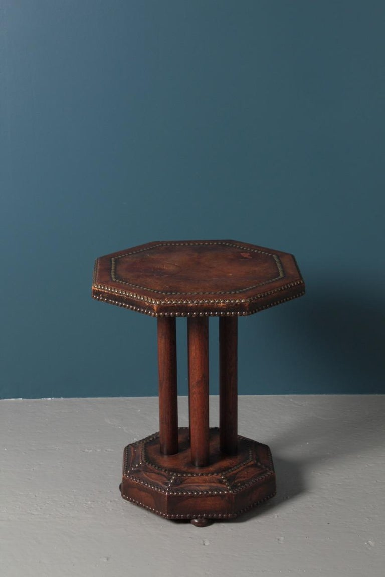 Scandinavian Side Table in Patinated Leather by Otto Schulz, 1940s For Sale 6