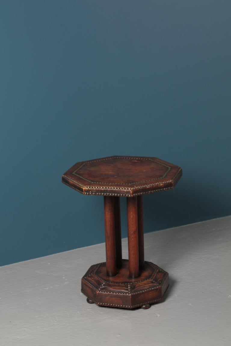 Scandinavian Side Table in Patinated Leather by Otto Schulz, 1940s For Sale 7