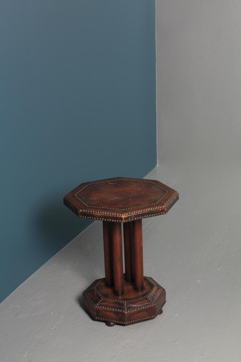 Scandinavian Side Table in Patinated Leather by Otto Schulz, 1940s For Sale 8