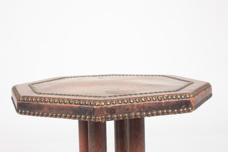 Scandinavian Side Table in Patinated Leather by Otto Schulz, 1940s For Sale 2