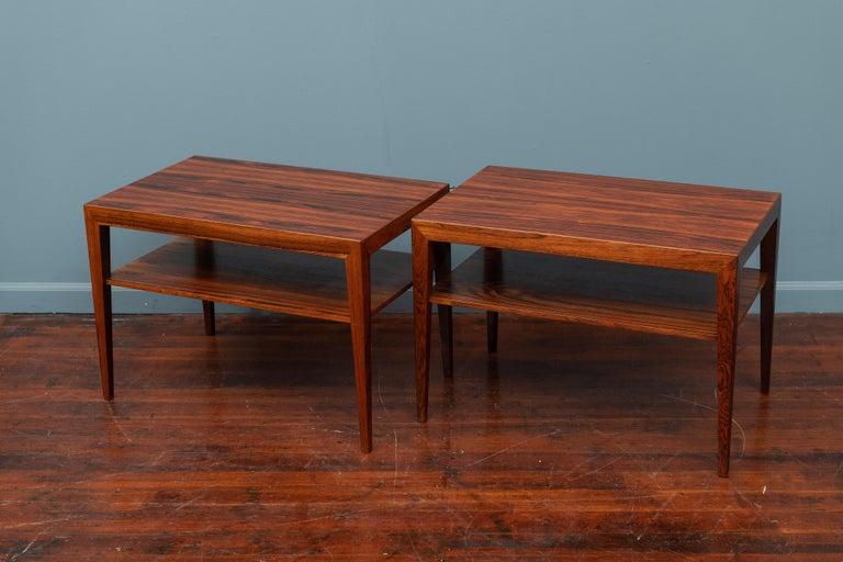 Scandinavian rosewood side tables or night stands by Severin Hansen & Halsev Mobelsnederi, Denmark. Perfectly refinished.