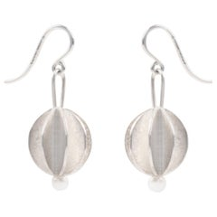 Scandinavian Silver and Pearl Drop Earrings by Åse-Marit Thorbjørnsrud