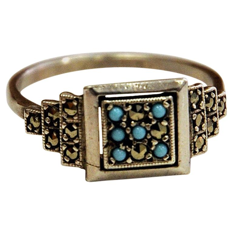 Scandinavian Silver Ring with Small Blue and Clear Stones, 1970s