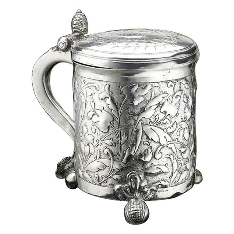 Scandinavian Silver Tankard, 1650 For Sale