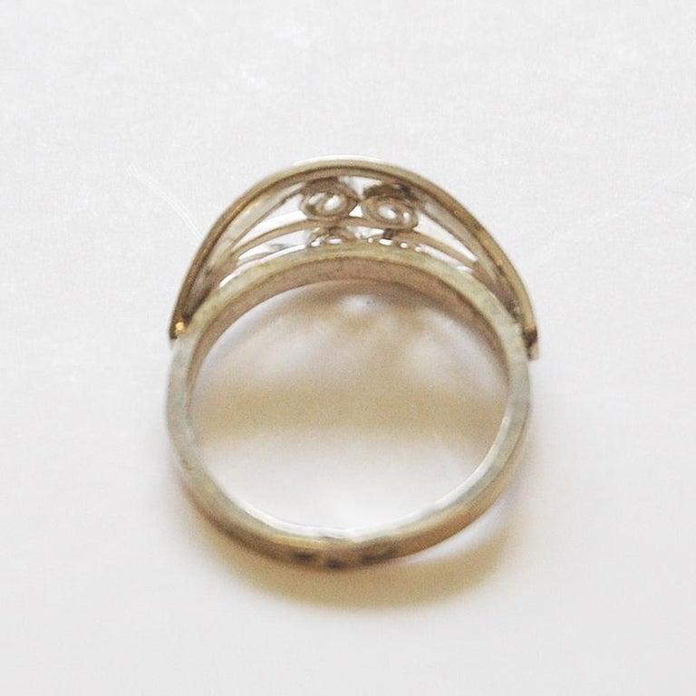 Mid-Century Modern Scandinavian Silverring with Ornament Details, 1950s-1960s For Sale