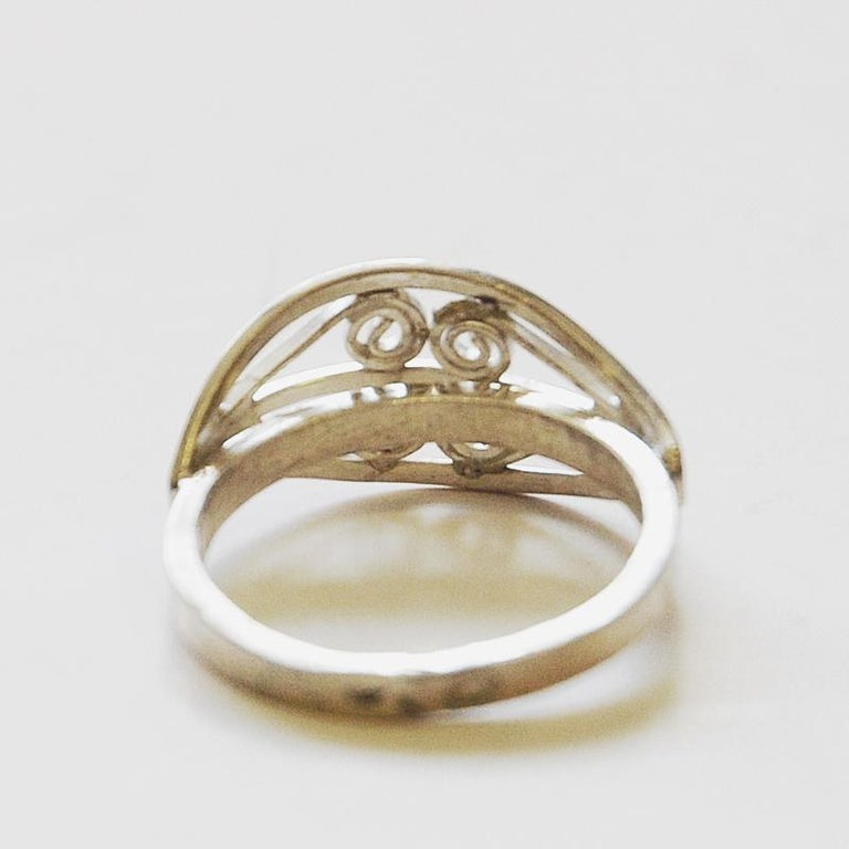 Scandinavian Silverring with Ornament Details, 1950s-1960s In Good Condition For Sale In Stockholm, SE