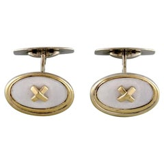 Scandinavian Silversmith, a Pair of Gilded Art Deco Style Cufflinks in Silver