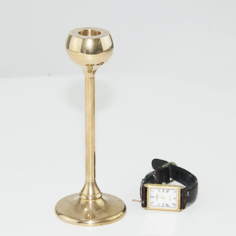 Scandinavian Single Midcentury Candleholder in Brass, Heavy