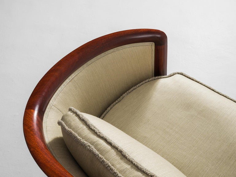 Mid-20th Century Scandinavian Sofa in Mahogany and Fabric Upholstery For Sale