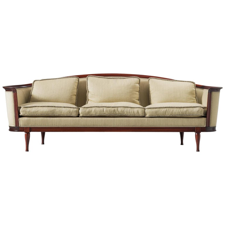 Scandinavian Sofa in Mahogany and Fabric Upholstery For Sale