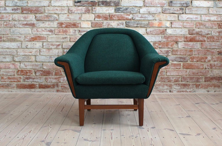 Sofa Set by Holm Fabriker in Emerald Green Kvadrat Fabric, Mid-Century Modern For Sale 5