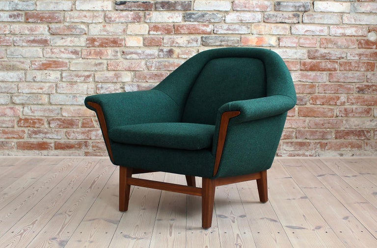 Sofa Set by Holm Fabriker in Emerald Green Kvadrat Fabric, Mid-Century Modern For Sale 6