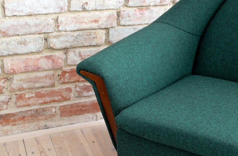 Sofa Set by Holm Fabriker in Emerald Green Kvadrat Fabric, Mid-Century Modern For Sale 9