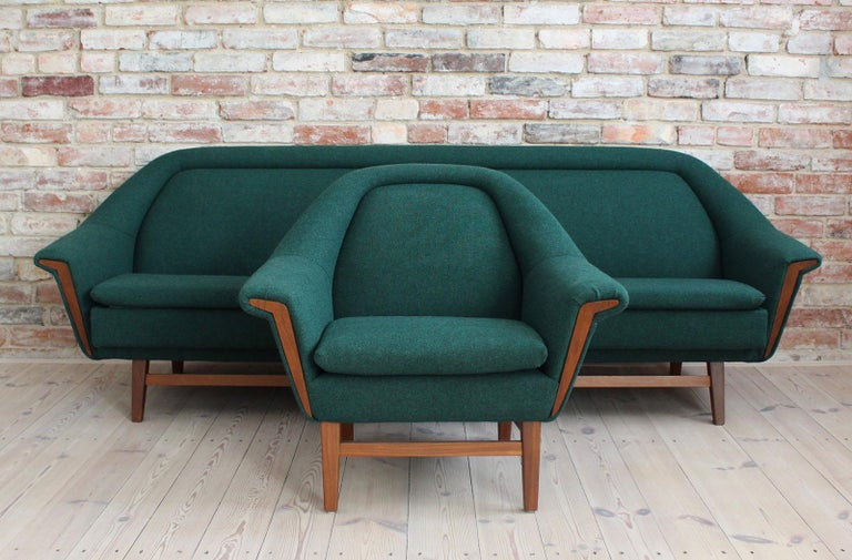 This set of furniture was produced by Holm Fabriker from Sweden in the 1960s. Like most furniture from Scandinavia, this set was also made with great care and accuracy, which we could observe throughout the renovation process. It can be transformed