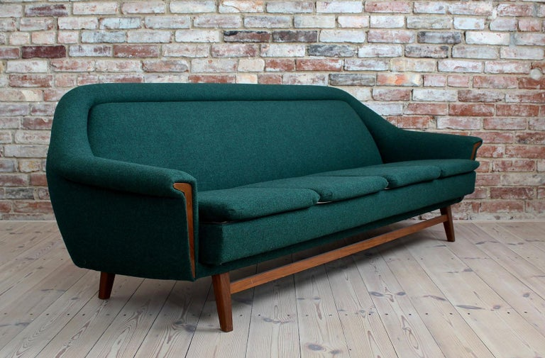 European Sofa Set by Holm Fabriker in Emerald Green Kvadrat Fabric, Mid-Century Modern For Sale