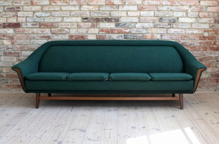 Sofa Set by Holm Fabriker in Emerald Green Kvadrat Fabric, Mid-Century Modern In Good Condition For Sale In Wrocław, Poland
