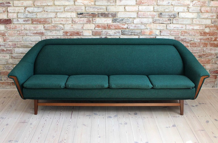 Mid-20th Century Sofa Set by Holm Fabriker in Emerald Green Kvadrat Fabric, Mid-Century Modern For Sale