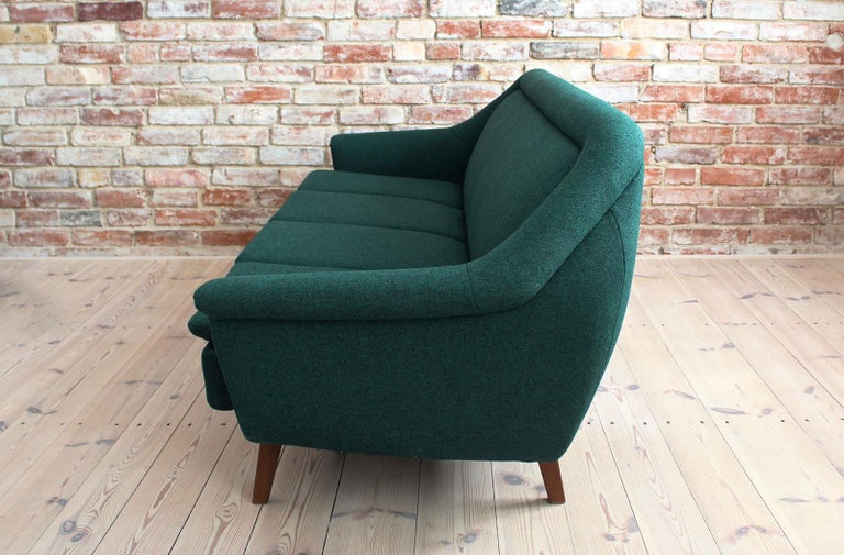 Sofa Set by Holm Fabriker in Emerald Green Kvadrat Fabric, Mid-Century Modern For Sale 1