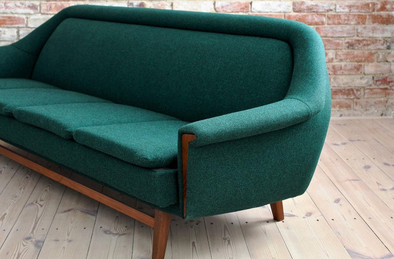 Sofa Set by Holm Fabriker in Emerald Green Kvadrat Fabric, Mid-Century Modern For Sale 2