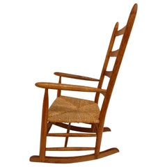 Scandinavian Solid Oak and Papercord Shaker Rocking Chair