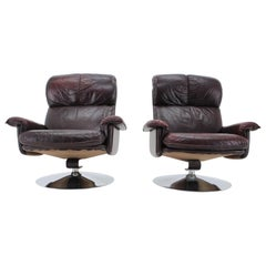 Scandinavian Space Age Style Leather and Chrome Armchairs by M-TOP, 1970s