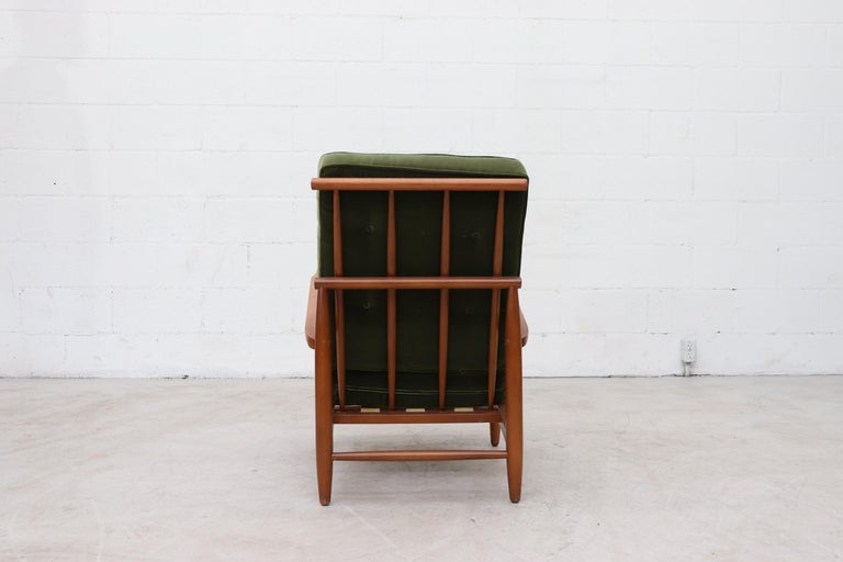Scandinavian Spindle Back Lounge Chair In Good Condition For Sale In Los Angeles, CA