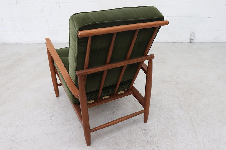 Velvet Scandinavian Spindle Back Lounge Chair For Sale