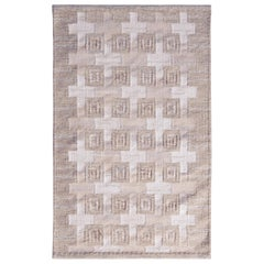 Scandinavian Style Beige White Geometric Custom Pattern by Rug & Kilim