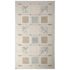 Scandinavian Style Flat-Weave Beige Brown Geometric Kilim by Rug & Kilim