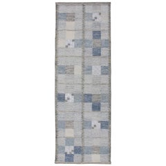 Scandinavian Style Flat-Weave Design Rug with Checkerboard Design in Gray, Blue