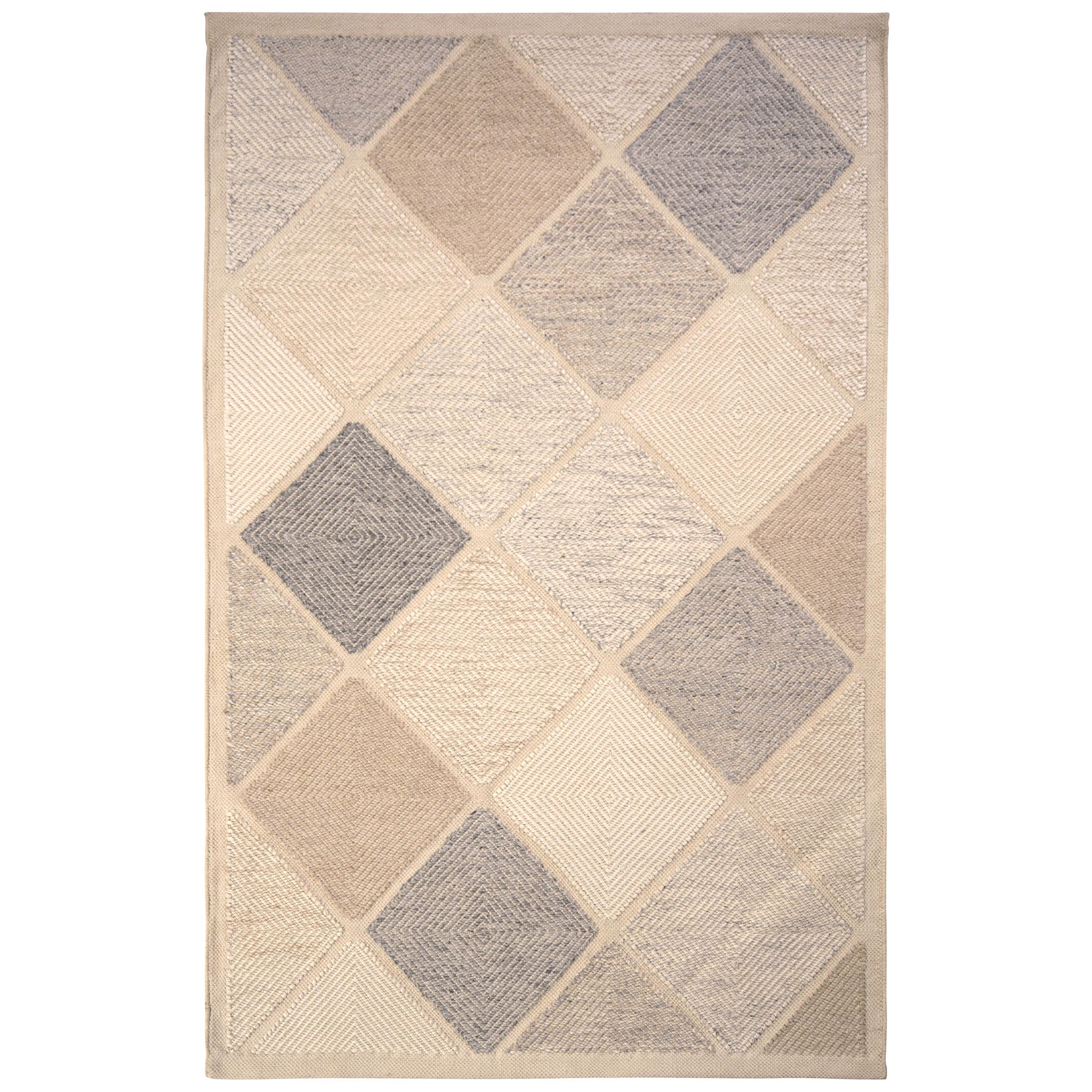 Rug & Kilim's Scandinavian Style Flat-Weave Gray Blue Geometric Pattern
