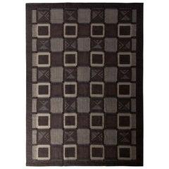 Scandinavian Style Flat Weave Gray Blue Purple Geometric Pattern by Rug & Kilim