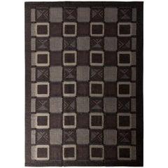 Rug & Kilim's Scandinavian Style Flat Weave Gray Earth Tone Purple Geometric