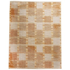 Scandinavian Style Inspired Geometric Blue and Beige Patchwork Wool Rug