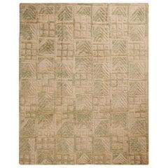Scandinavian Style Inspired Geometric Green and Beige Wool Pile Rug