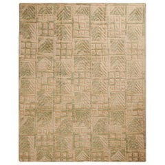 Scandinavian Style Inspired Geometric Green and Beige Wool Pile Rug